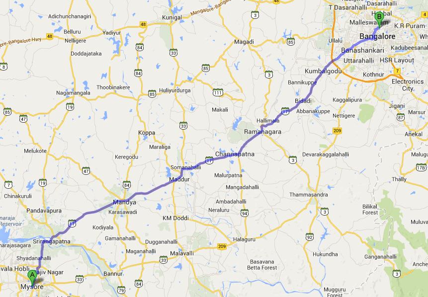 route to Bangalore